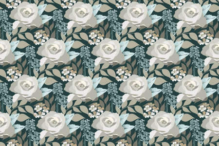 Vector floral seamless pattern. Delicate pastel rose, small flowers, leaves isolated on dark forest green background. For home textiles, fabric, wallpaper design, accessories, digital paper.