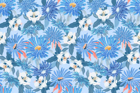 Art floral vector seamless pattern. Blue asters, chrysanthemums, white and blue Columbine. Vector garden flowers Isolated on ice blue background. For fabric, home and kitchen textile, wallpaper.