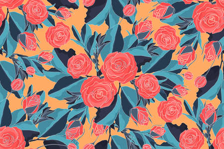 Art floral vector seamless pattern with red roses and blue leaves. Vector garden flowers and buds isolated on orange background. For fabric, home and kitchen textile, wallpaper design.