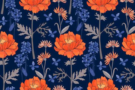 Art floral vector seamless pattern. Orange and blue flowers on deep blue background. Ilustracja
