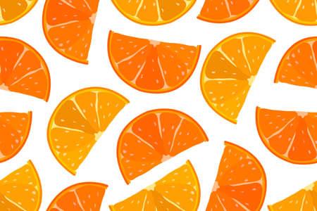 Juicy fruit orange seamless pattern. Orange and yellow orange slices isolated on a white background.