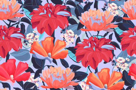 Floral vector seamless pattern with garden flowers. Wet red dahlias, orange calendula, white hydrangea with blue leaves isolated on a blue background.
