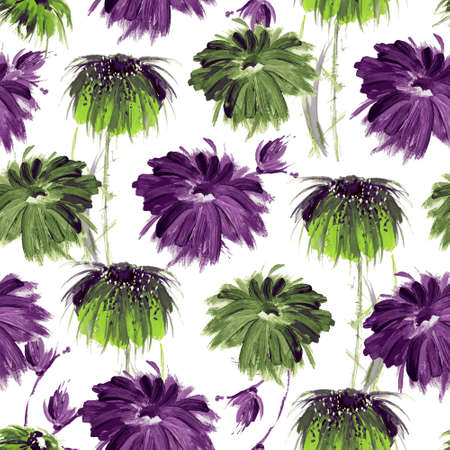 Art floral seamless pattern. Green and purple flowers on white. Hand-painted. Gouache.