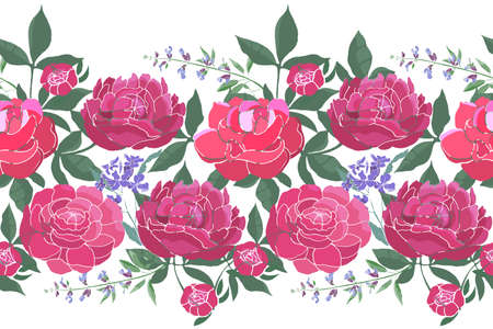Vector floral seamless border. Summer flowers, green leaves. Pink peonies, blue sage, garden flowers isolated on white background.