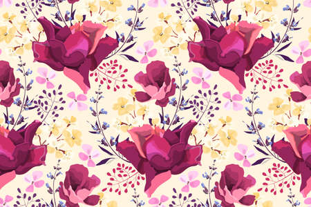 Feminine floral vector seamless pattern. Pink garden roses, yellow small flowers, blue sage, purple twigs isolated on pale yellow background.
