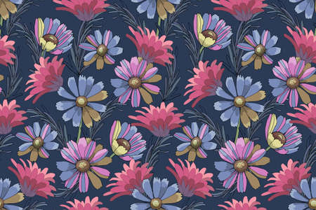 Feminine floral vector seamless pattern. Pink and blue garden flowers, blue rosemary isolated on navy blue background.