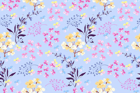 Feminine floral vector seamless pattern. Pink, yellow small flowers, blue sage, purple twigs isolated on light blue background.