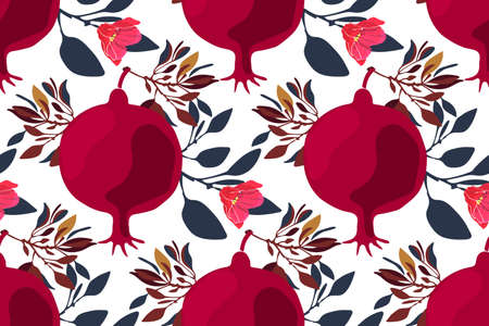 Art floral vector seamless pattern. Maroon fruit pomegranates with pink flowers, brown and blue branches and leaves isolated on white background. Fruit seamless pattern.