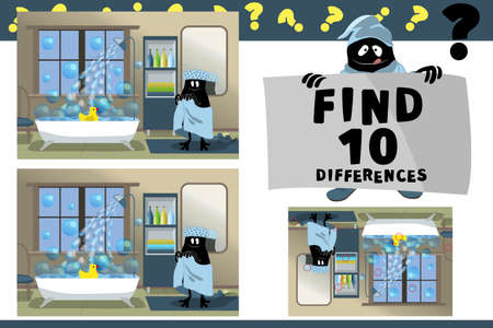 Find 10 differences. Educational game for children. Cartoon vector illustration. Happy cute little monster in blue towel, bathing cap is going to swim. In the bath floats a yellow duck and soap bubble