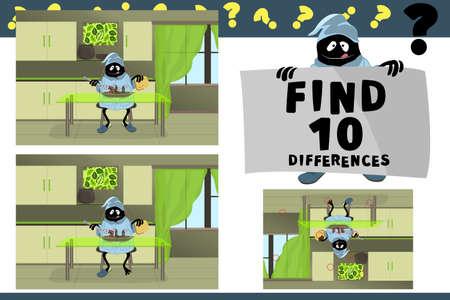 Find 10 differences. Educational game for children. Cartoon vector illustration. A cute cheerful happy monster in the kitchen at the neon green glass table having Breakfast. In plate cute living worms