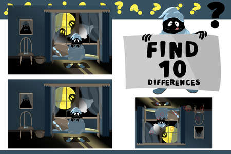 Find 10 differences. Educational game for children. Cartoon vector illustration. Cute little monster sitting on the bed and afraid. Two ghosts look at him from the window on the background of a moon. Ilustracja