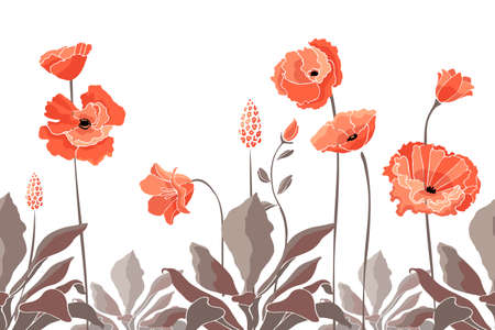 Vector floral seamless border. California poppy flowers, Eschscholtzia. Seamless pattern with coral color flowers, Chocolate color leaves and stems. Floral elements isolated on white background. Illustration