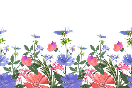 Vector floral seamless border. Summer flowers, green leaves. Chicory, mallow, gaillardia, marigold, oxeye daisy. Pink, blue flowers isolated on white background. Ilustracja