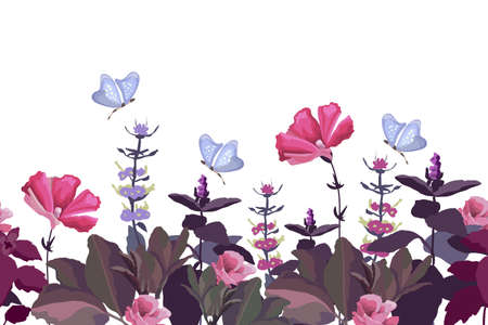 Vector floral seamless border. Summer pattern with pink flowers, violet leaves, butterflies. Summer garden flowers and herbs isolated on white background. Ilustracja