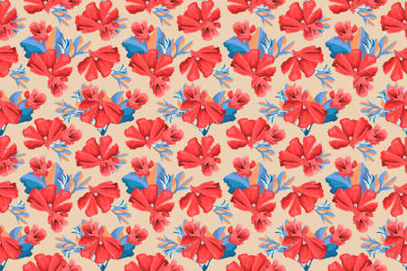Vector floral seamless pattern. Red mallow flowers, buds, blue leaves isolated on beige background. For home textiles, fabric, wallpaper, kitchen decor, paper, accessories. Vintage style. Ilustracja