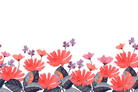 Vector floral seamless pattern, border. Red, pink, purple summer flowers isolated on white background.