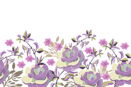 Vector floral seamless pattern, border. Purple, pink flowers with branches and leaves isolated on white background. Vettoriali