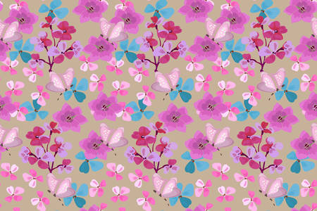 Art floral vector seamless pattern. Pink, blue, purple small flowers with butterfly isolated on beige background.