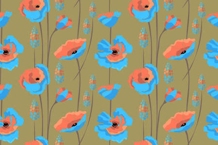Art floral vector seamless pattern. Blue, coral color flowers isolated on khaki background. Field of summer flowers.