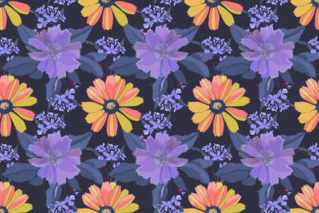 Vector floral seamless pattern. Yellow, pink, purple flowers, blue leaves isolated on blue background.