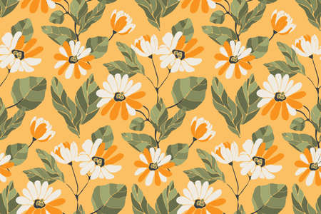Art floral vector seamless pattern. Summer background. White and orange flowers, branches with green leaves isolated on sun yellow background.