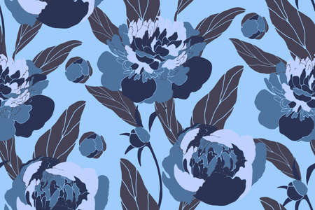 Vector floral seamless pattern. Blue peonies, buds, brown leaves isolated on ice blue background. Summer pattern.
