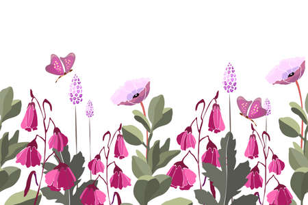 Vector floral seamless pattern, border. Summer background with pink flowers, green leaves, butterflies. Meadow flowers isolated on white background. Illusztráció