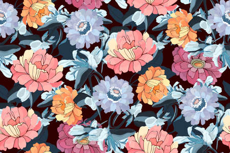 Vector floral seamless pattern. Pink, orange, blue zinnias, peonies, navy blue leaves. Garden flowers isolated on chocolate background. Tile pattern for fabric, home textile, interior.