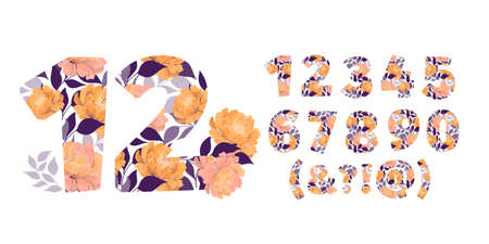 Vector flower numbers from 0 to 9. Botanical character, figure. Orange, cream, coral color peony flowers, blue leaves in the shape of a bold number.