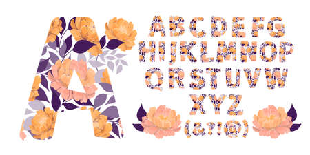 Vector floral alphabet from A to Z. Letters with flowers. Capital characters. Botanical monogram. Orange, cream, coral color peony flowers, blue leaves in the shape of a bold letter. Ilustracja