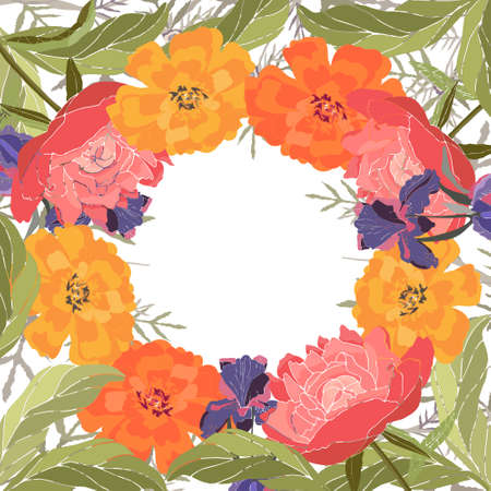 Vector floral frame, card. Peonies, irises, marigolds, tagetes. Pink, yellow, purple summer flowers isolated on white background. Vettoriali