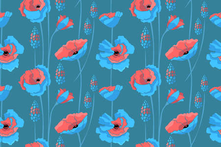 Art floral vector seamless pattern. Blue, coral color flowers isolated on blue background. Meadow with summer flowers.