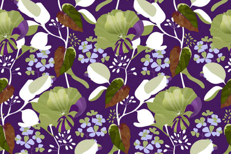 Art floral vector seamless pattern. Green, purple garden mallow flowers, blue gillyflower, branches with brown leaves isolated on purple background. Tile pattern for wallpaper, fabric, textile.