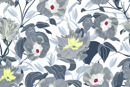 Art floral vector seamless pattern. Gray morning glory flowers, branches and leaves. Vector garden flowers isolated on white background. Endless pattern for wallpaper, fabric, textiles, accessories.