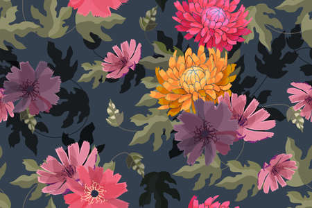 Art floral vector seamless pattern. Autumn pink, red, yellow, purple asters, chrysanthemums flowers isolated on navy blue background. Transparent green overlays leaves. For fabric, wallpaper, textile. Ilustracja