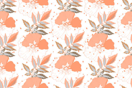 Art floral vector seamless pattern. Coral color flowers with leaves isolated on white background. For fabric, wallpaper, templates, home and kitchen textile.