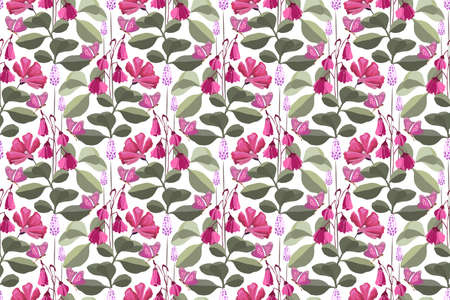 Vector floral seamless pattern with pink butterflies, pink and purple flowers, green leaves. Floral elements isolated on white background. Ilustração