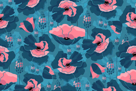 Vector floral tile pattern. Seamless flowers background. Pink flowers isolated on blue background.