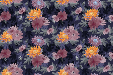 Art floral vector seamless pattern. Autumn pink, yellow, purple asters, chrysanthemums flowers isolated on navy blue background. Transparent leaves. Autumn background for fabric, wallpaper, textile. Illustration