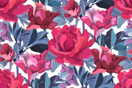 Vector floral seamless pattern. Pink, burgundy, maroon, purple garden roses, blue branches with leaves isolated on white. Flowers background.