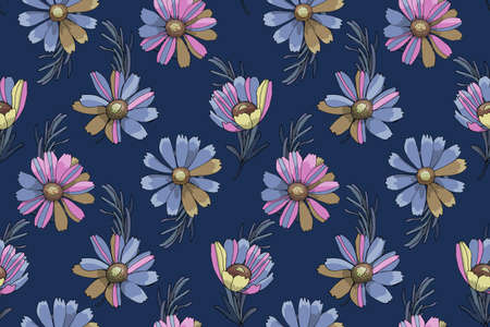 Vector floral seamless pattern. Pink and blue flowers, blue rosemary isolated on navy blue background. Naive art. Ilustrace