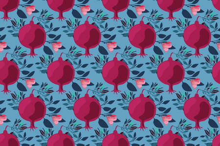 Vector floral seamless pattern. Maroon fruit pomegranates with pink flowers, blue branches and leaves isolated on blue background. Fruit seamless pattern. Naive art.