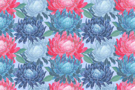 Art floral vector seamless pattern. Pink, blue asters, chrysanthemums. Vector garden flowers Isolated on blue background. For fabric, home textile, wallpaper.