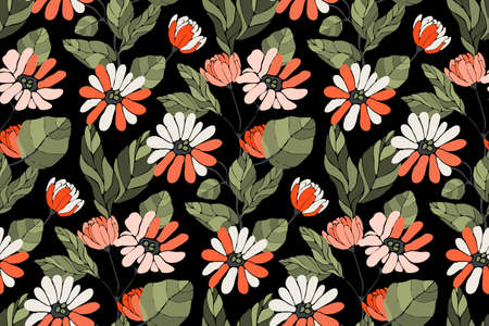 Art floral vector seamless pattern. Autumn background. White, coral color, orange flowers, branches with green leaves isolated on black background.