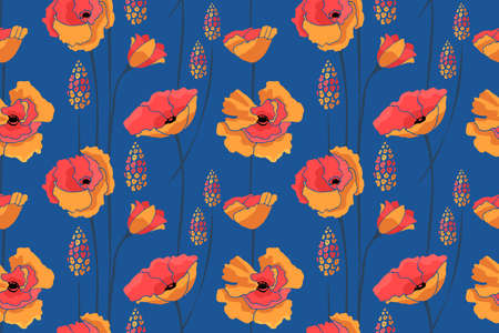 Art floral vector seamless pattern. Red, yellow flowers isolated on blue background. Meadow with summer flowers. 矢量图像