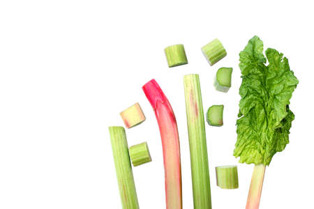Fresh rhubarb. Red and green stems, whole and cut into pieces, petiole with a leaf. Rhubarb plant isolated on a white background. Macro pieplant. 免版税图像 - 152067391