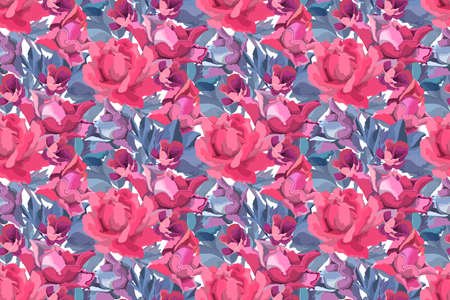 Art floral vector seamless pattern. Red, burgundy, maroon, purple garden rose, peony flowers and buds, blue branches and leaves isolated on white background. Ilustrace