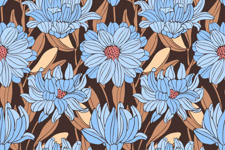 Autumn floral seamless pattern. Blue chrysanthemums on a coffee-colored background. Autumn vector flowers.