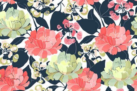 Vector floral seamless pattern. Light red and yellow flowers, navy blue branches and leaves isolated on white background. 矢量图像