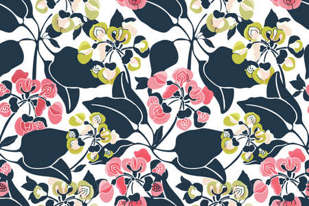 Art floral vector seamless pattern. Pink, yellow, green small flowers on twigs with navy blue leaves isolated on white background. 矢量图像